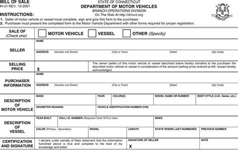 motor vehicle department ct connecticut motor vehicle bill of sale form for