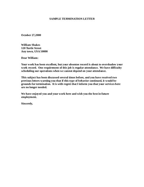 termination letter templates fillable printable