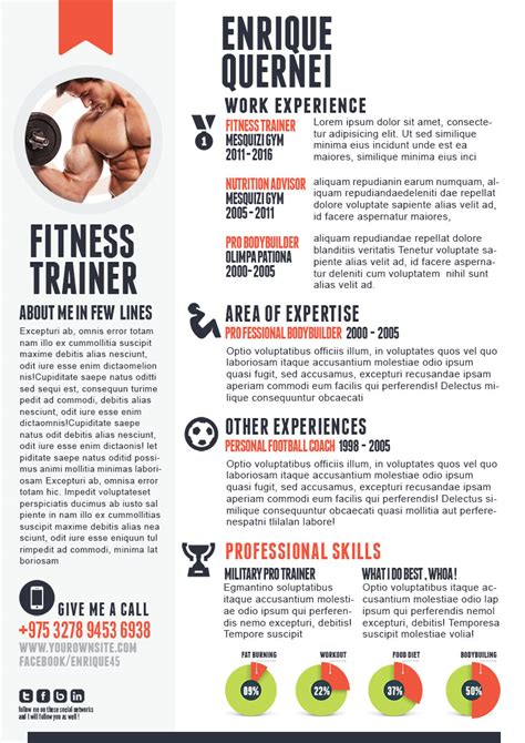 fitness trainer resume template fitness trainer resume templates for cv