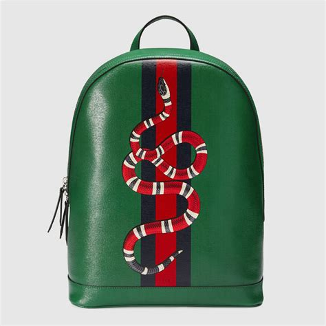 Gucci Snake gucci web and snake leather backpack