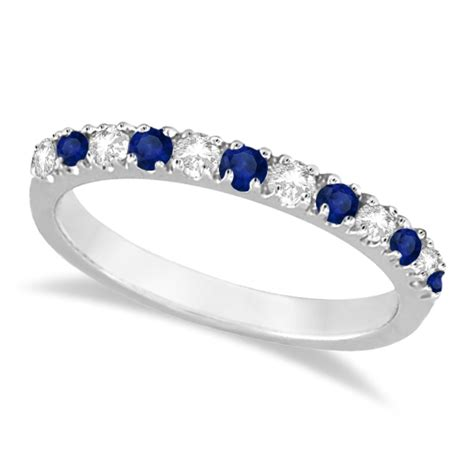 Blue Sapphire 4 35 Ct and blue sapphire ring anniversary band 14k white