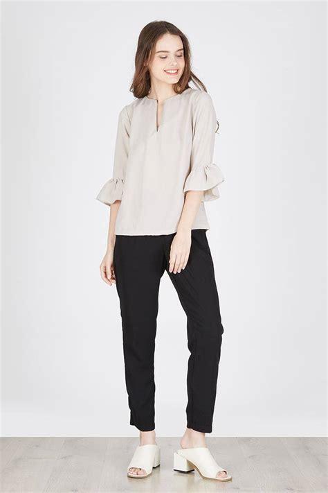 Blouse Kerah Tinggi Sale Nv2604 Atasan Polos Fashion Wanita Murah sell mucia top grey blouse berrybenka