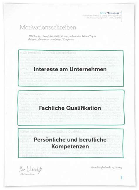 Bewerbung Motivationsschreiben Layout Motivationsschreiben Dritte Seite Aufbau Inhalt Layout
