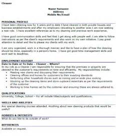 cleaner cv exle cover letters and cv exles