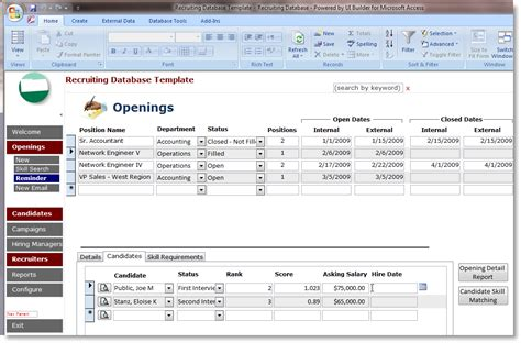 recruiting database template access microsoft access database template