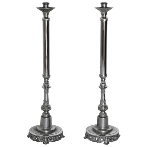 Floor Candlesticks by Pair Of Silverplated Altar Floor Candlesticks For Sale At
