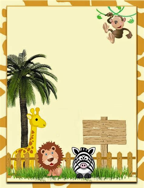 Cute The Jungle Free Printable Invitations Labels Or Cards Oh My Fiesta In English Safari Invitation Template Free