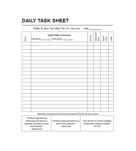 weekly task list template excel daily task list templates 8 free sle exle