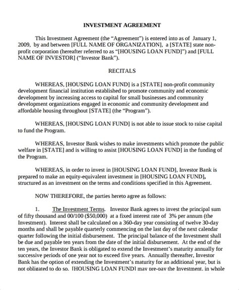 7 Business Loan Agreement Sle Templates Investment Loan Agreement Template