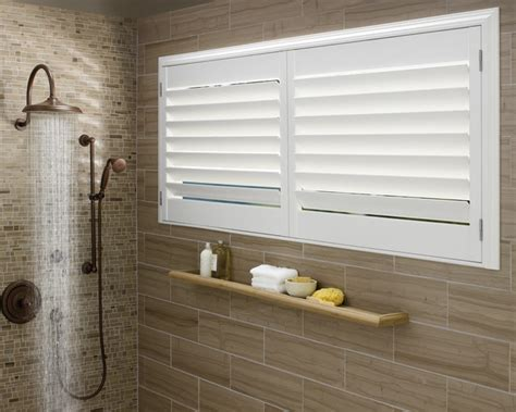 window coverings for bathrooms vinyl shutters in master bathroom windows contemporary