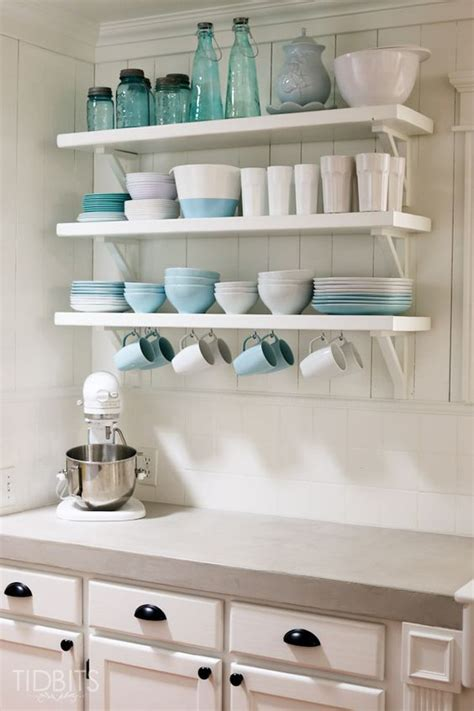 shelf in kitchen cottage fresh kitchen reveal countertops open shelf