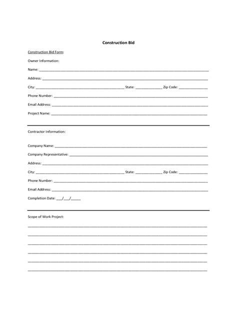 bid for construction bid template 3 free templates in pdf word