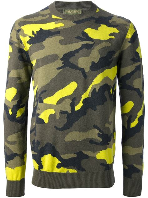 Camouflage Pullover lyst valentino camouflage sweater in green for