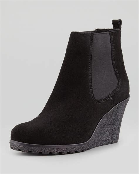 Wedges Kelsey lyst la canadienne kelsey suede wedge bootie black in black