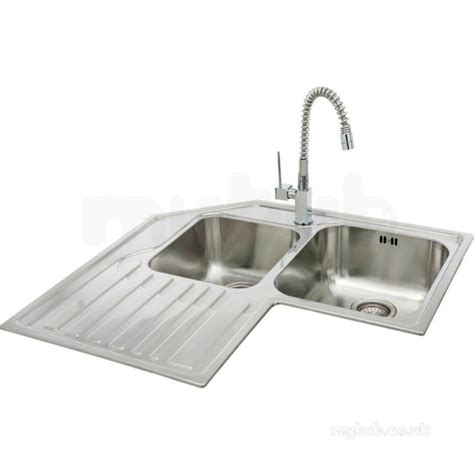 double drainer kitchen sinks lavella corner kitchen sink with left hand double bowl and