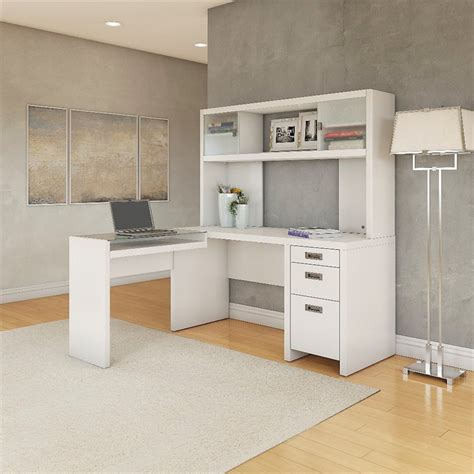 Kathy Ireland Office By Bush Furniture New York Skyline L White L Shaped Desk With Hutch