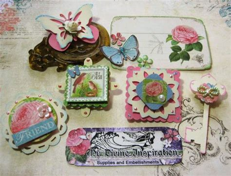 Handmade Scrapbook Embellishments - botanical tea handmade scrapbook embellishments paper