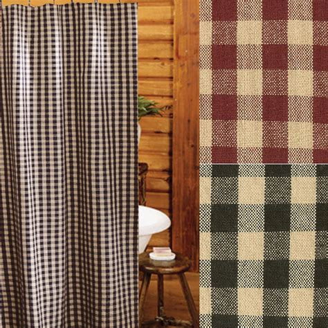 Primitive Shower Curtains Heritage House Check Shower Curtains Primitive Home Decors