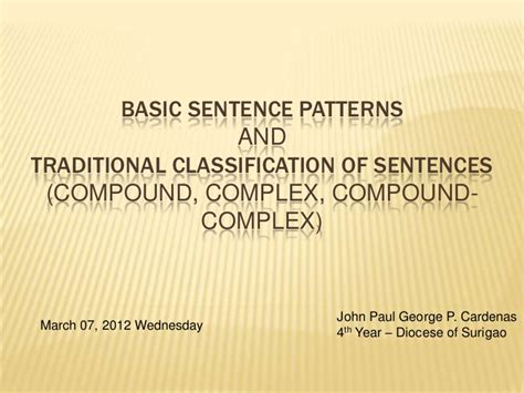 sentence pattern tricks basic sentence patterns and traditional classification of
