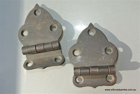 2 small offset hinges vintage aged style solid brass door