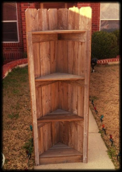 shelves   fence rustic corner shelfdiy ideas