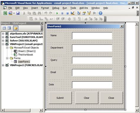 design element form exles automatically send email to users queries in excel with