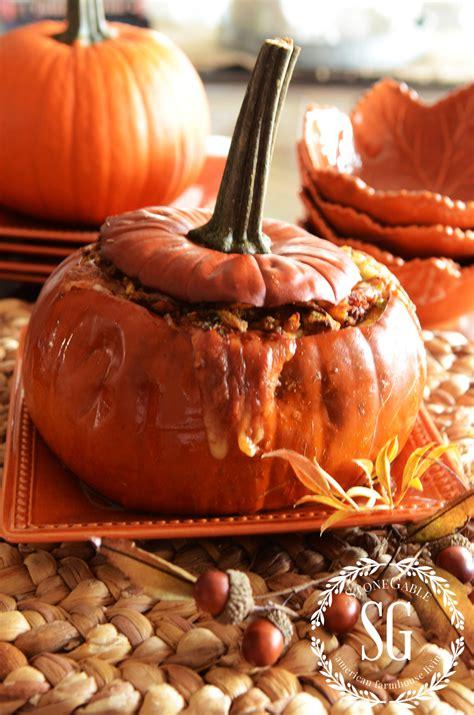 gruyere bacon and green onion roasted stuffed pumpkin