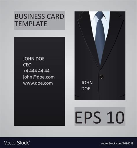 black suit business card template suit business card template royalty free vector image