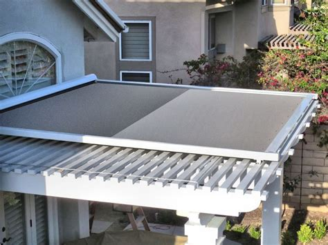 California Awnings by Retractable Shade Panel On Lattice Patio Cover By Superior