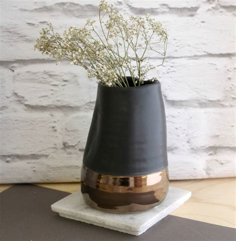 Black Stones For Vases by Matte Black And Copper Vase By Posh Totty Designs