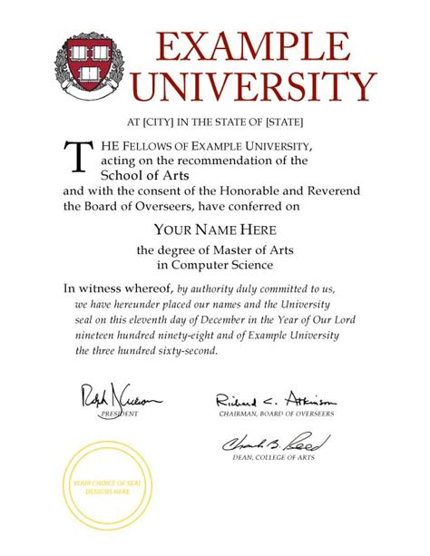 Fake Diplomas College University Replicas Harvard Diploma Template