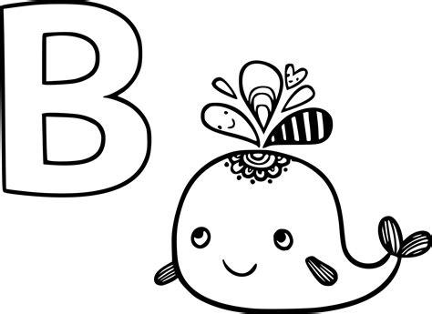 Coloriage B Comme Baleine 224 Imprimer