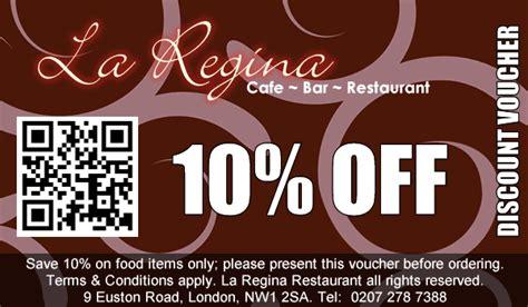 discount vouchers uk food la regina cafe restaurant kings cross menu list