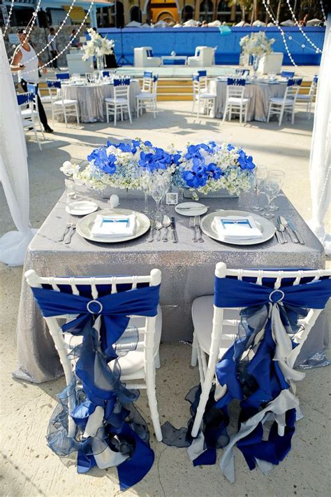 Bride and groom chair decor Dreams Los Cabos wedding Blue