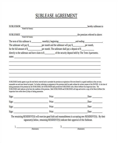 Sublease Agreement Sle Letter Sublease Contract Landlord Sublease Agreement Template Pdf Format Free Sublease
