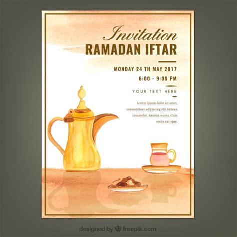 ramadan invitation card template watercolor iftar ramadan invitation vector free