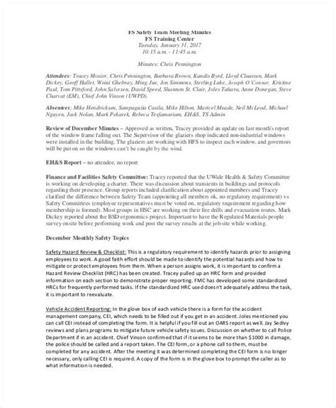 safety meeting minutes template 12 safety meeting minutes template 12 free sle exle