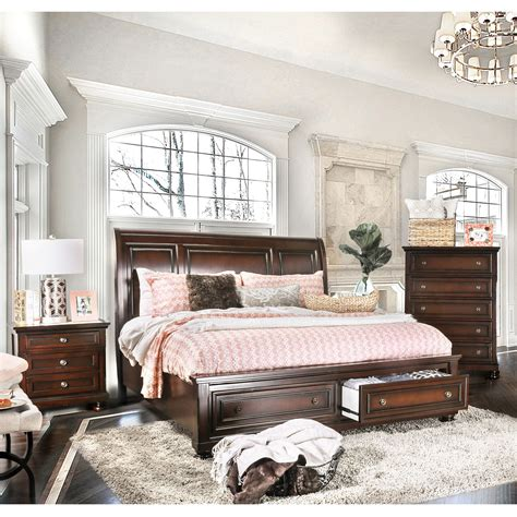 furniture of america barelle i cherry 4 piece bedroom set furniture of america barelle i cherry finish solid wood 3
