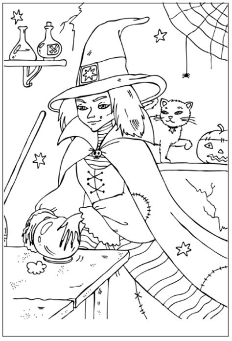 kawaii witches autumn coloring book an autumn coloring book for adults japanese anime witches cats owls fall festivities books coloring pages witch coloring pages