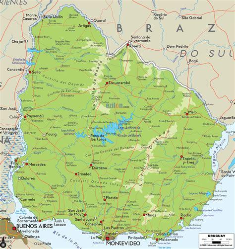 Physical Map of Uruguay   Ezilon Maps