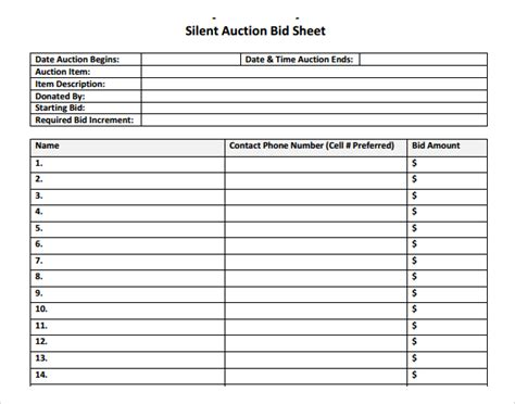 bid list template silent auction bid sheet template 9 free