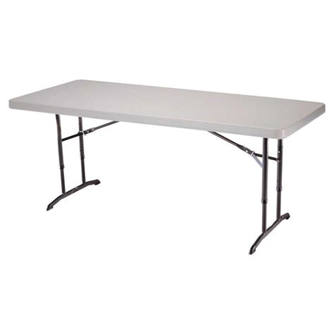 Folding Table 6 Foot Lifetime 6 Ft Almond Adjustable Height Folding Table 22920 The Home Depot
