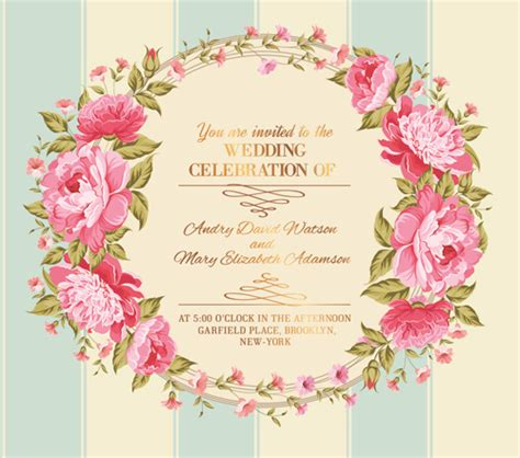 Flowers Gift Card - pink flower frame wedding invitation cards 03 vector card vector flower vector