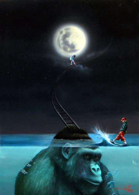 Imagenes Surrealistas De La Luna   pintura surrealista la luna atelier wendell well elo7