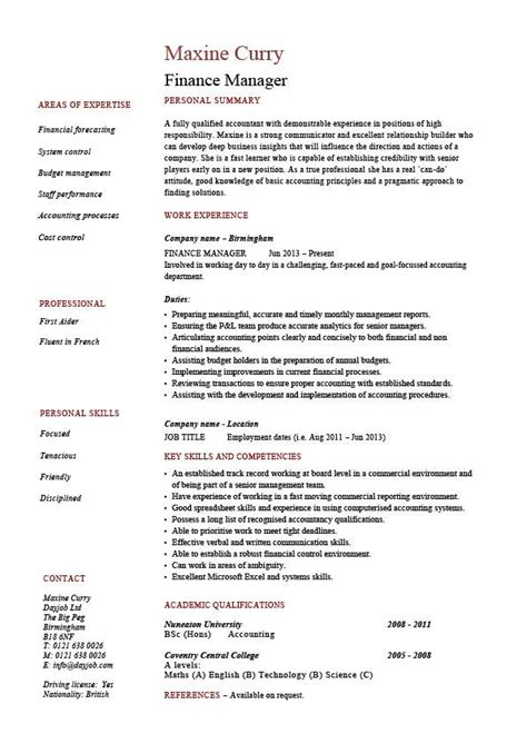 finance manager cv template finance manager resume cv exle sle templates