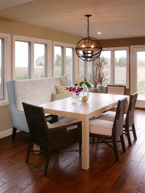 banquette bench dining room contemporary with built in