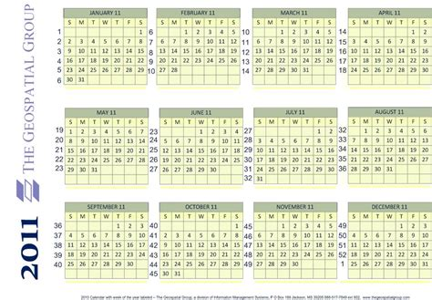 Calendar What Week Of The Year Is It Year Calendar With Numbered Weeks Geoamyk