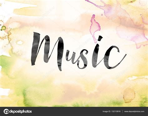 songs with the word colorful watercolor and ink word stock photo