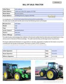 tractor bill of sale free blank form