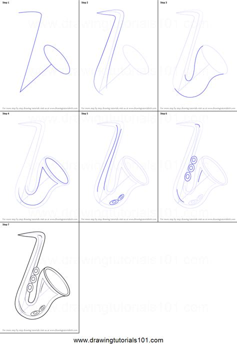 doodle drawing step by step how to draw a saxophone for printable step by step
